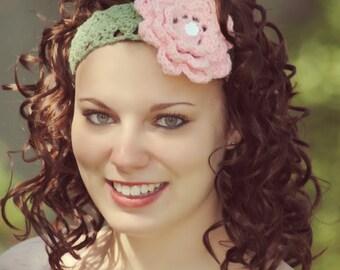 Wide Lace Headband with Crochet Flower, Feminine Comfort Hair Band