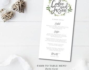 Farm to Table Printed Menu Cards | Menu or Itinerary Card | Printed or Printable by Darby Cards