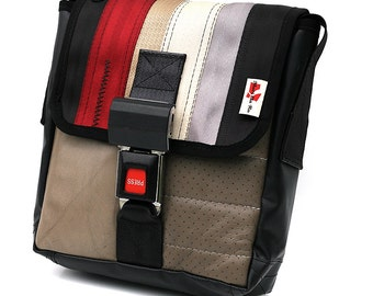 Shoulder bag made from RECYCLED car seat belt and car seats by Mariclaro (416F)