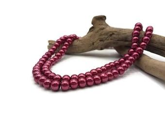 100 glass 8 mm - A163 fuchsia beads