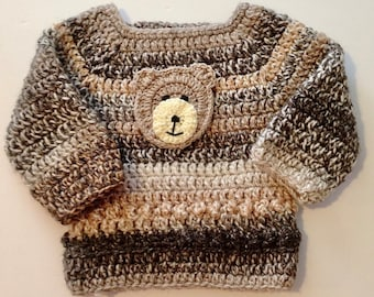 Crochet Jumper for a baby boy - variegated cream and brown - Birth - 3 months