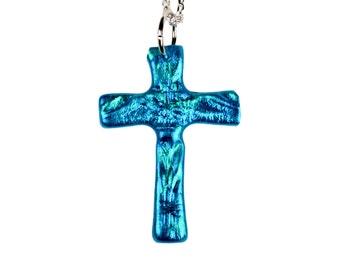 Turquoise Cross Necklace, Cross pendant, Christian jewelry, Cross jewelry