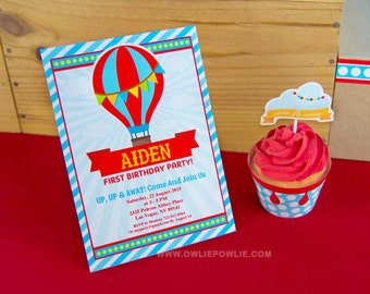 Hot Air Ballon BIRTHDAY Party Printable 5 x 7 inch Invitation, INSTANT DOWNLOAD, You Edit Yourself with Adobe Reader