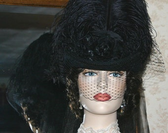 Victorian Hat, SASS Hat, Steampunk Hat, Mourning Hat, Gothic Hat, Black Hat - Lady Kathleen - Extra Tall Hat