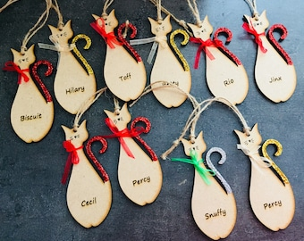 Personalised cat pet hanging tree decorations Christmas sign plaque hand made