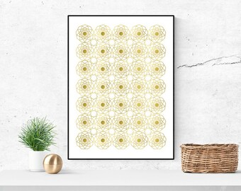 REAL GOLD FOIL Nine Pointed Star Geometrical Print | Inspirational Print | Baha'i print | Wall art | Ayyami-Ha Gift