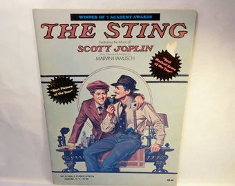"Vintage The STING Sheet Music - Scott Joplin ""The Entertainer"" - Robert Redford and Paul Newman Movie Tie-In Photos Pictures – 1970's (1974)"