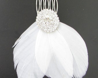 White Feather Fascinator Hair Comb Silver Bridal Diamante 1920s Flapper Vtg 106