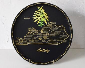 Vintage 50s Kentucky State Souvenir Tray - Map - KY Travel Memento, Retro Home Decor, Black Round Metal Tray, Mid-Century Barware Keepsake
