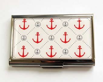 Business Card Case, Anchor, Card case, Nautical, business card holder, Card case for her, Nautical card case, Sailing (4403)