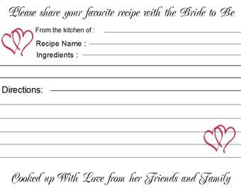 Bridal Shower Wedding Recipe Cards Personalized 40 Quantity