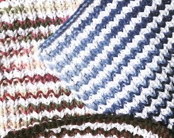 Cotton striped knit dishcloth