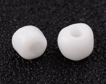 lot 10g 4 mm opaque white seed beads