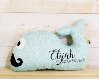 Cushion whale moustache customizable (name, weight, size and date of birth)