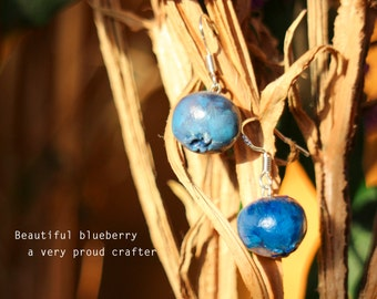 Blueberry earrings, 925 sterling silver finish, gifts for her, gift for friendship, Sterling silver earrings, gift for Mum, rustic gifts
