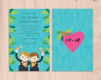 Custom Grooms Gay Destination Wedding Invitations - Hawaiian Punch - 5x7 Flat Cards