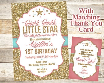 Twinkle Twinkle Little Star Birthday Invitation, 1st Birthday Party, Gold Glitter Star Birthday Invitation, First Birthday Girl Printable
