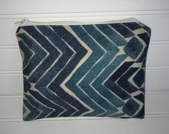 Blue Chevron Pouch | Handmade Zipper Pouch