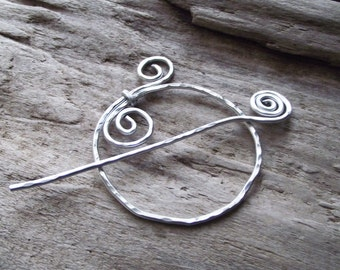 "Spiral Circle Hoop Shawl Pin Scarf Pin- Metal Hoop Pin Holder- Aluminum Wire Hammered Silver -""Twig Sprig"""