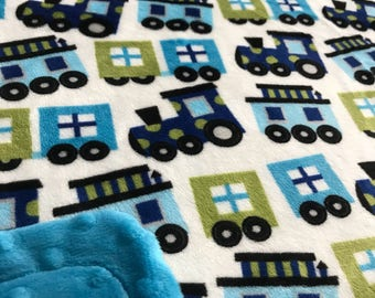 Minky Blanket Train Print Minky with Turquoise Dimple Dot Minky Backing - Cute Gift for a Boy