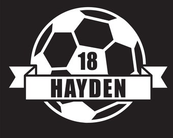 Personalized Soccer Name and Number Decal, Custom Soccer Decal, Soccer Car Decal, Soccer Auto Decal, Soccer Mom Sticker, Soccer Decal
