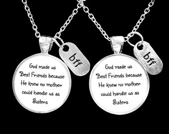 Best Friend Gift, Best Friend Necklace, Bff Necklace, God Made Us Best Friends Because He Knew No Mother Could Handle Us Necklace Set