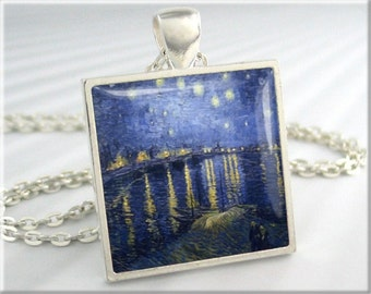 Starry Night Necklace, Vincent Van Gogh Art, Resin Pendant, Starry Night Over The Rhone, Square Silver, Gift Under 20, Art Gift 564SS