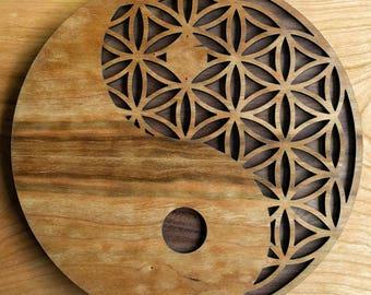 Yin Yang Flower of Life Laser Cut Wall Art - Sacred Geometry Ancient Symbol Conscious Meditation Art