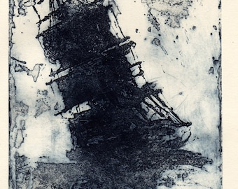 Dark Blue Ship in Distress, on Creamy Strathmore Rag paper