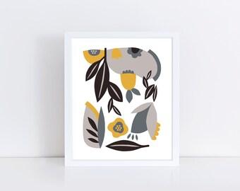 Scandinavian poster, minimalist print, mid century modern art, colorful wall art, flowers, leaves, yellow, grey, black, scandinavian print