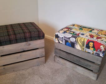 Hand made footstool with storage and choice of materials FREE DELIVERY