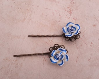 Blue Rose Hairpin  - Blue and White Polymer Rose Brass Hairpin