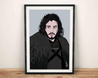 Jon Snow / Kit Harington / Game Of Thrones • A3 Print • Wall Art Home Decor Poster Illustration