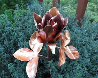 Copper Rose, Long Stem, Copper Rose Bud, Metal Rose, Metal Garden Flowers, Metal Flower Garden Art