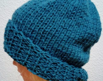 Hand knit hat Oversized Chunky Wool  Hat   blue, hat slouchy hat   blue, cable hat Superwash Wool
