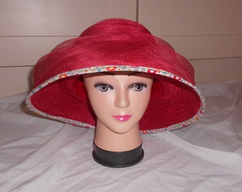 Audrey Hepburn-Style Red Sinamay Hat. Wedding. Ascot. Kentucky Derby Hat.
