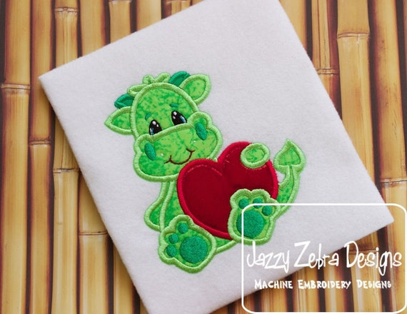 Dragon holding Heart Embroidery Appliqué Design - Valentines day appliqué design - Valentine appliqué design - dragon appliqué design