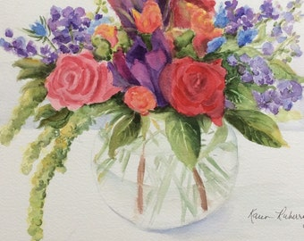 Spring Bouquet - New  (Original watercolor Matted)