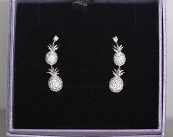 Sterling silver Pineapple Climbers with cubic zirconias