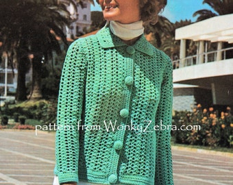 Vintage Crochet Jacket Cardigan Pattern PDF 746 from WonkyZebra