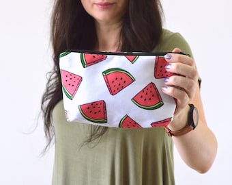 "Watermelon Print Zippered Cosmetic Bag, Make-up Bag, Toiletry Bag, Organizer Pouch - 8"" x 5.5"""