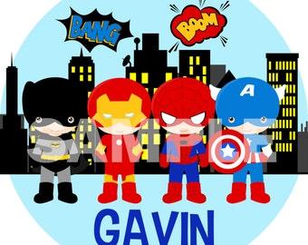 Personalized Superhero Boy Melamine Plate Gift