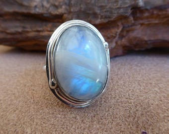 Rainbow Moonstone Ring, Sterling Ring Size 7 1/2, Moonstone Sterling , Statement Ring , Silver Ring, Flashy Moonstone, Moonstone Statement