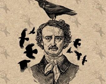 Vintage retro drawing image Halloween Poe Raven Crow Instant Download Digital printable clipart graphic iron on transfer burlap decor 300dpi