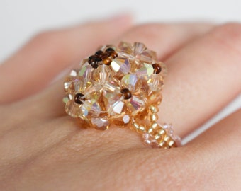 Crystal ring, golden flower statement ring