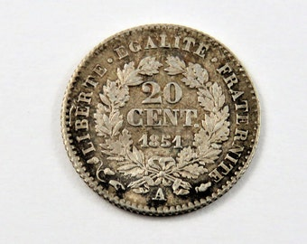 France 1851 A Silver 20 Centimes Coin.
