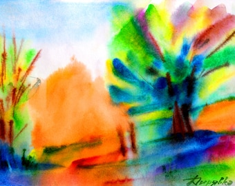 Abstract landscape Watercolor landscape decor Small watercolor art Abstract artwork watercolor Abstract tree art Bright abstract painting