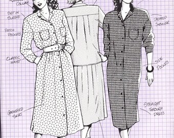ON SALE 80's Sewing Pattern - Knitwit 5300 Shirt Maker Dress Size 6 - 22 Factory folded and complete