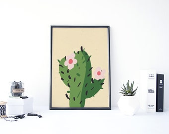 Cactus Print, Cartoon Art, Cactus Drawing, Botanical Print, Cactus Art Print, Suculents Art Print, Desert Art, Southwestern Art, Cactus Baby