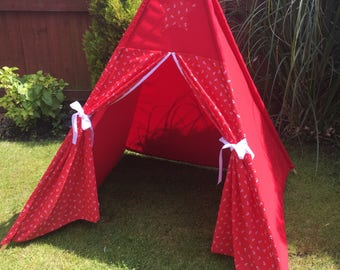 Childrens Tee Pee Tent - Red Anchor  Indoor/ Outdoor Playtent Wigwam - Ready to ship
